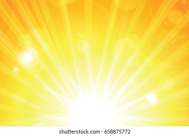 Sunny abstract summer background with sun and bokeh. Bright Background with Sunshine. SunBurst with Flare and Lens.