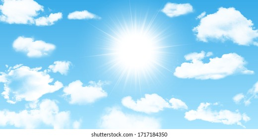 Sunny background, blue sky with white clouds and sun. Vector illustration.