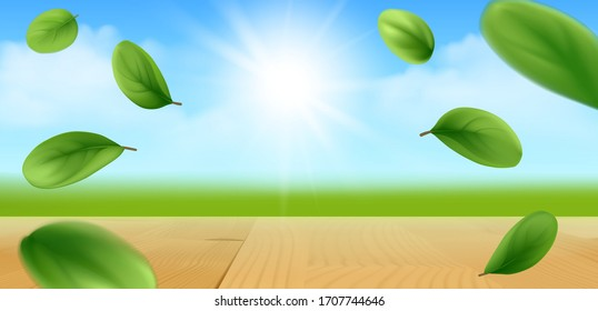Sunny background with wooden tabletop, green field, flying leaves of marjoram and blue sky with sun. Vector illustration.