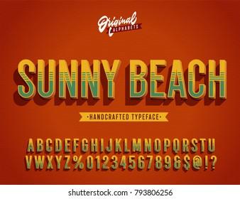 """Sunny Beach"" Vintage 3d Summer Styled Alphabet. Retro Nostalgic Typeace Vector Illustration"