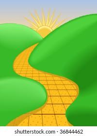 Sunny Brick Road - vector illustration