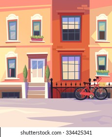 Sunny city street with a City Bicycle Basket. Vector illustration