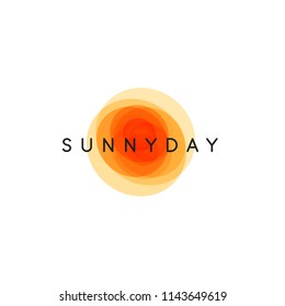 Sunny day, abstract sun,  vector logo template, round orange shapes with company name on white background.