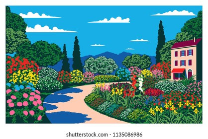Sunny day in the garden near the country house. Handmade drawing vector. Pop art style.