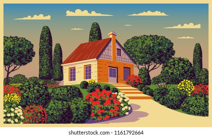 Sunny day in the garden near the country house. Handmade drawing vector. Pop art vintage style.