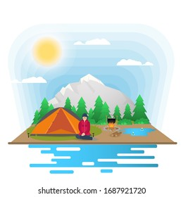 Sunny day, landscape, Background for summer camp nature tourism camping or Hiking, web design concept, girl sitting next to a tent and a tent, flat vector illustration