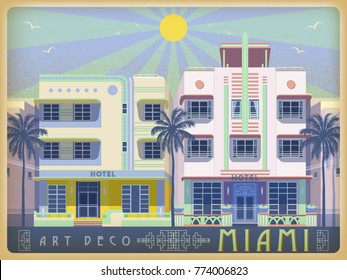 Sunny day in Miami, USA. Handmade drawing vector illustration. Art deco style.