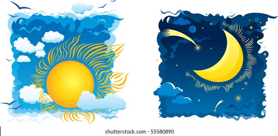 Sunny day and moonlit night with sky and clouds