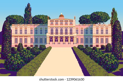 Sunny day in the park near the palace. Handmade drawing vector. Pop art retro style. All objects are grouped and layered. Can be used for posters, banners, postcards, books & etc.