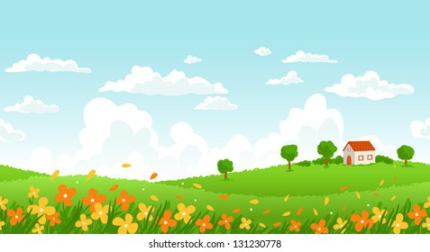 Sunny day seamless landscape with house on a hill and flower field.