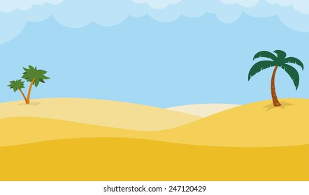 Sunny desert background with palm trees on rolling golden sand dunes under a hot blue tropical sky, illustration with copy space