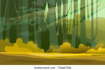 Sunny forest background. Vector illustration of woods in forest in sunlight background.