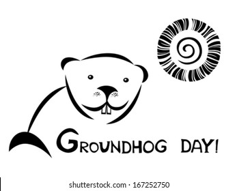 Sunny Groundhog day. Vector illustration