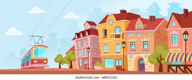 Sunny historical city street. Old city banner with tram. Cartoon vector illustration.