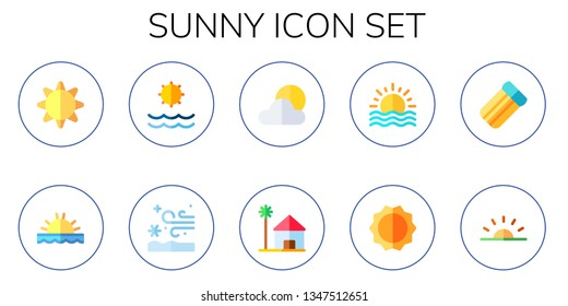sunny icon set. 10 flat sunny icons.  Simple modern icons about  - sun, sunset, snow storm, cloudy, beach house, air mattress, sunrise