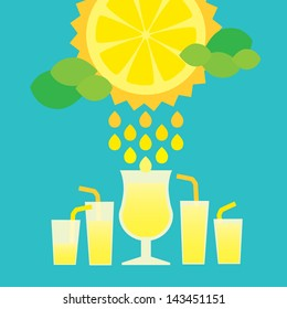 Sunny lemon with glasses of lemonade or cocktail with clouds like a mint leaves. Layered file