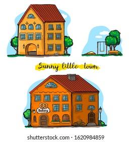 Sunny little town. Sunny vector houses.