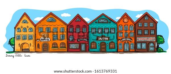 Sunny little town. Vector illustration.