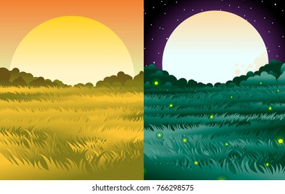 sunny and night valley scenes
