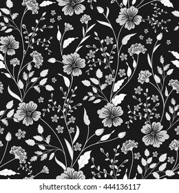 Sunny pastel floral print. Seamless background. Cute little flowers. Black and white. Vector illustration.