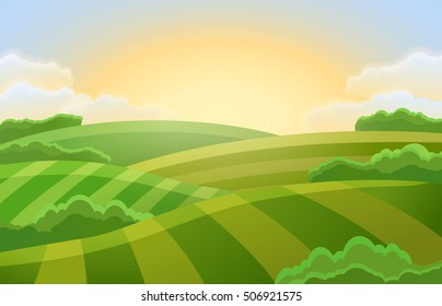 Sunny rural landscape with hills and fields. Vector illustration of beautiful summer landscape.   Green farm field.