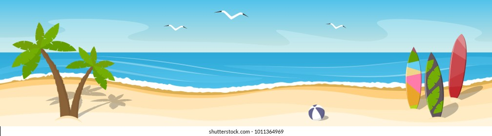 Sunny seascape with palm trees and surfboards. Panorama. Place for text. Vector illustration.