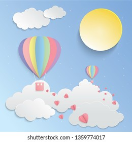 Sunny sky, Colorful balloon and pink heart paper art vector, Vector design