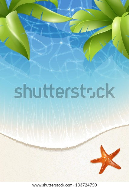 Sunny summer background for design with palm leaves over water
