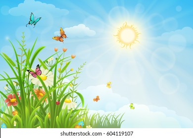 Sunny summer background with green grass, flowers and butterflies