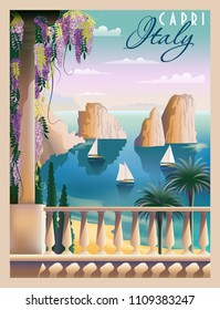Sunny summer day in Italy. Handmade drawing vector illustration. Art deco style. Can be used for posters, banners, postcards, books & etc.