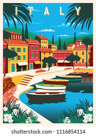 Sunny summer day in Italy. Handmade drawing vector illustration. All buildings - customizable different objects. Can be used for posters, banners, postcards, books & etc.