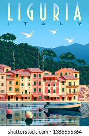 Sunny summer day in Liguria with boat and fishing village in the foreground, trees and mountains in the background. Handmade drawing vector. Travel Poster.