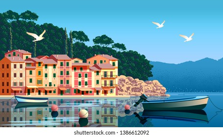 Sunny summer day in Liguria with boats and fishing village in the foreground, sea and mountains in the background. Handmade drawing vector. All objects are grupped into separate layers.