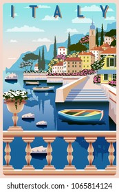 Sunny summer day on the shore of lake Como, Italy. Handmade drawing vector illustration. All buildings - customizable different objects. Can be used for posters, banners, postcards, books & etc.