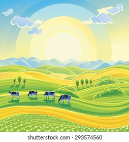 Sunny summer landscape and herd of cows on the meadow.