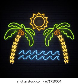 Sunny Summer. Neon pattern summer. Palm trees, sea, sun, island. A bright pattern of neon. Vector image