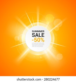 Sunny summer sale banner with discount