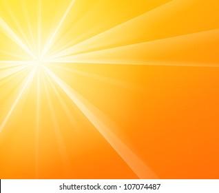 Sunny Sunshine - Yellow solar Sun light on a bright and warm orange sky