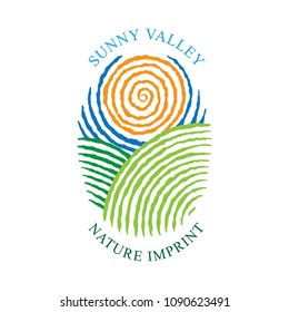 Sunny Valley logotype in fingerprint style. Sunny Valley Hand drawn illustration. Nature, meadows, sun and sky.