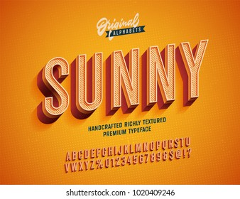 """Sunny"" Vintage 3d Premium Rich Textured Alphabet. Super Detailed Retro Typeace with Good Summner Vibes. Vector Illustration. Slanted Version."