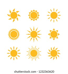 Sunny weather abstract flat design vector illustration icon set