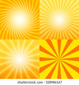 Sunray background set, 2d vector illustration, design elements, clipping mask, eps 10