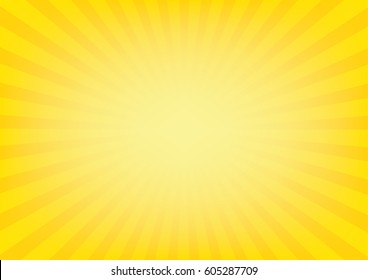 Sunrays with sunburst on yellow color background. Vector illustration design.