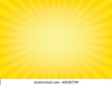 Sunrays with sunburst on yellow color background. Vector illustration design.