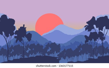Sunrise in beautiful mountains and forest. Vector illustration
