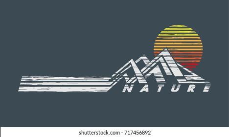 Sunrise behind mountain t-shirt design