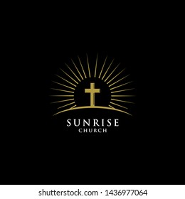 SUNRISE CHURCH LOGO DESIGN. vector illustration. easy to edit, both color, shape, size and position.