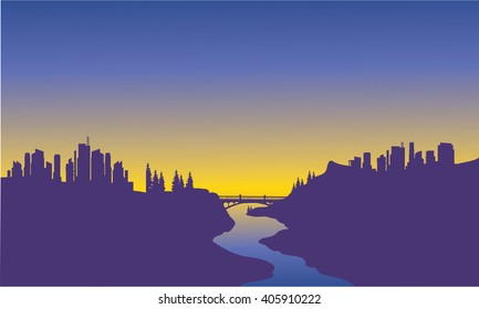 Sunrise city on the river with purple background