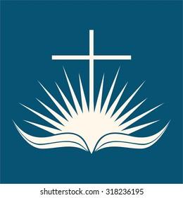 Sunrise, cross, page, Bible, open Bible, icon, sun