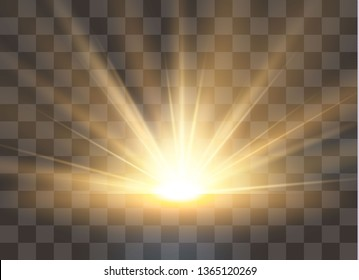 Sunrise, dawn. Vector transparent sunlight. Special lens flare light effect.